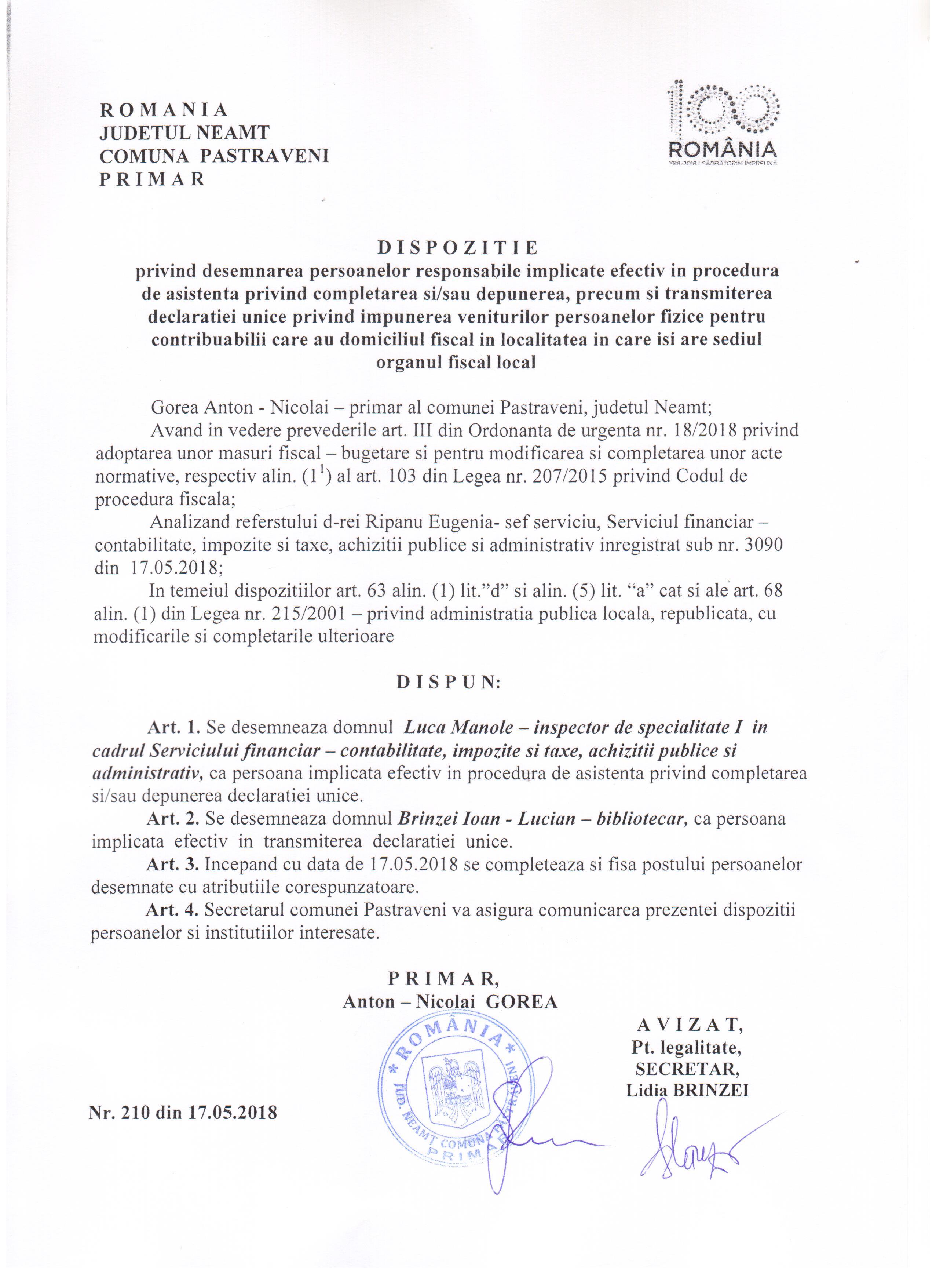 Dispozitia nr 210 din 2018 privind desemnare persoana privind declaratia unica