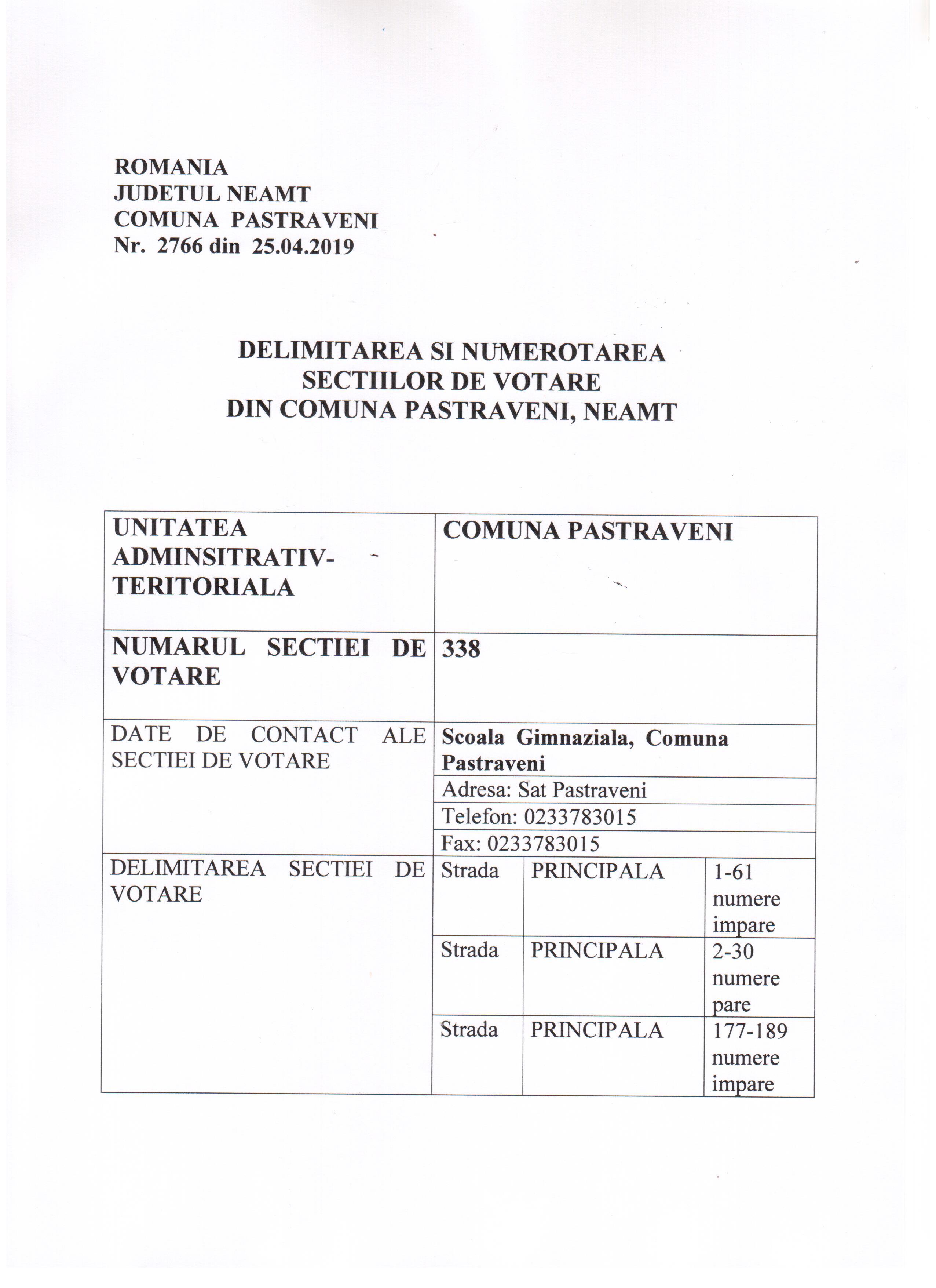 numerotare sectii votare 1